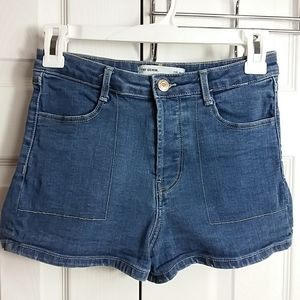 Zara TRF Button Fly Denim Shorts Sz 4